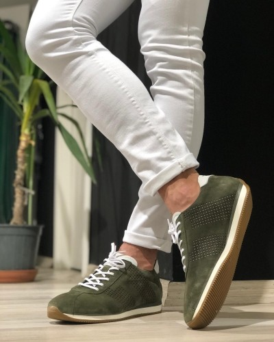 Khaki Lace Up Suede Sneakers by Gentwith.com with Free Shipping