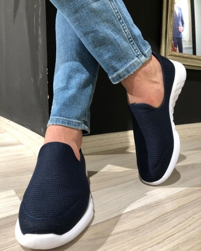 Navy Blue Sneakers by GentWith.com with Free Shipping