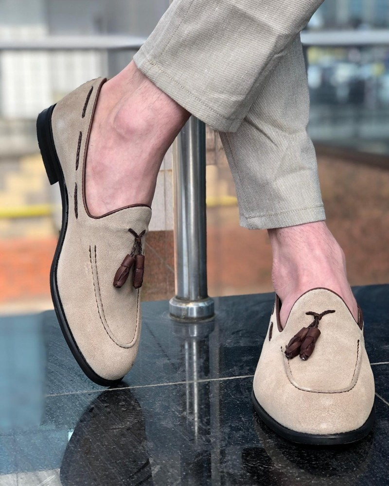 Beige Suede Tassel Loafer by GentWith.com with Free Shipping