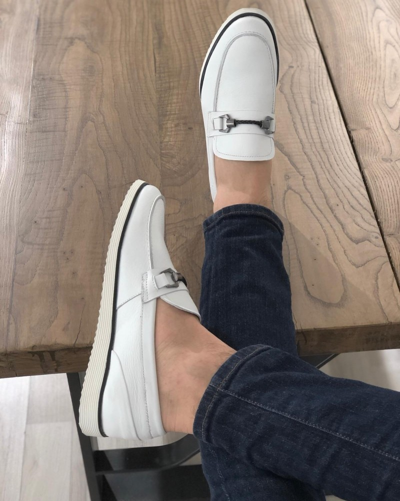 White Leather Loafer by GentWith.com with Free Shipping