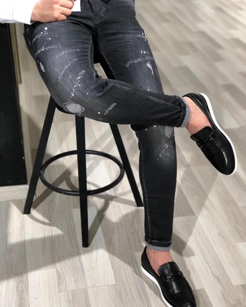 Black Distressed Jeans by GentWith.com with Free Shipping