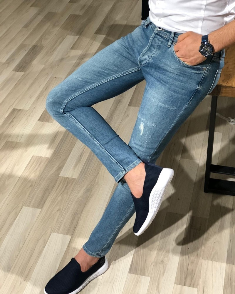 Blue Skinny Distressed Jeans Men by GentWith.com with Free Shipping