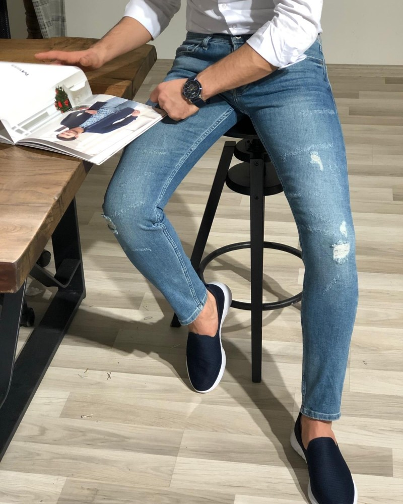 Blue Slim Fit Distressed Jeans by GentWith.com with Free Shipping