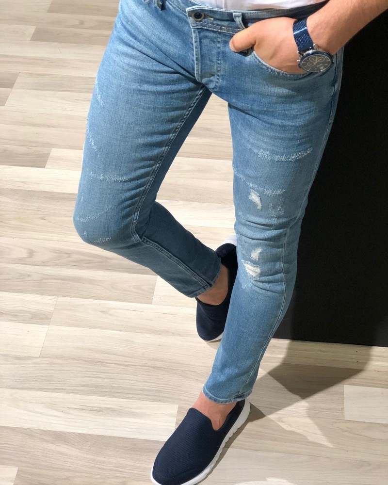 Blue Distressed Jeans by GentWith.com with Free Shipping