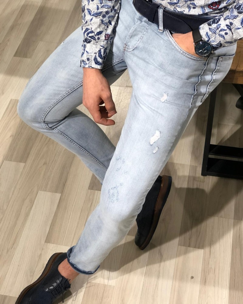 Blue Slim Fit Jeans by Gentwith.com with Free Shipping