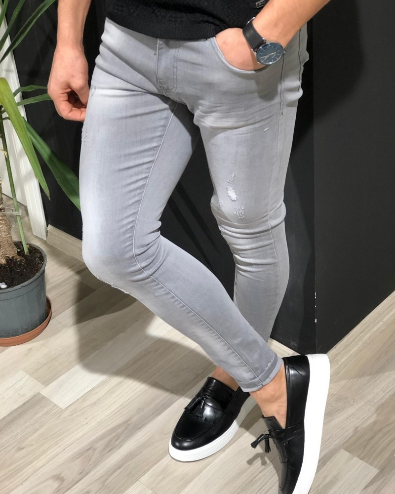Gray Slim Fit Jeans by Gentwith.com with Free Shipping