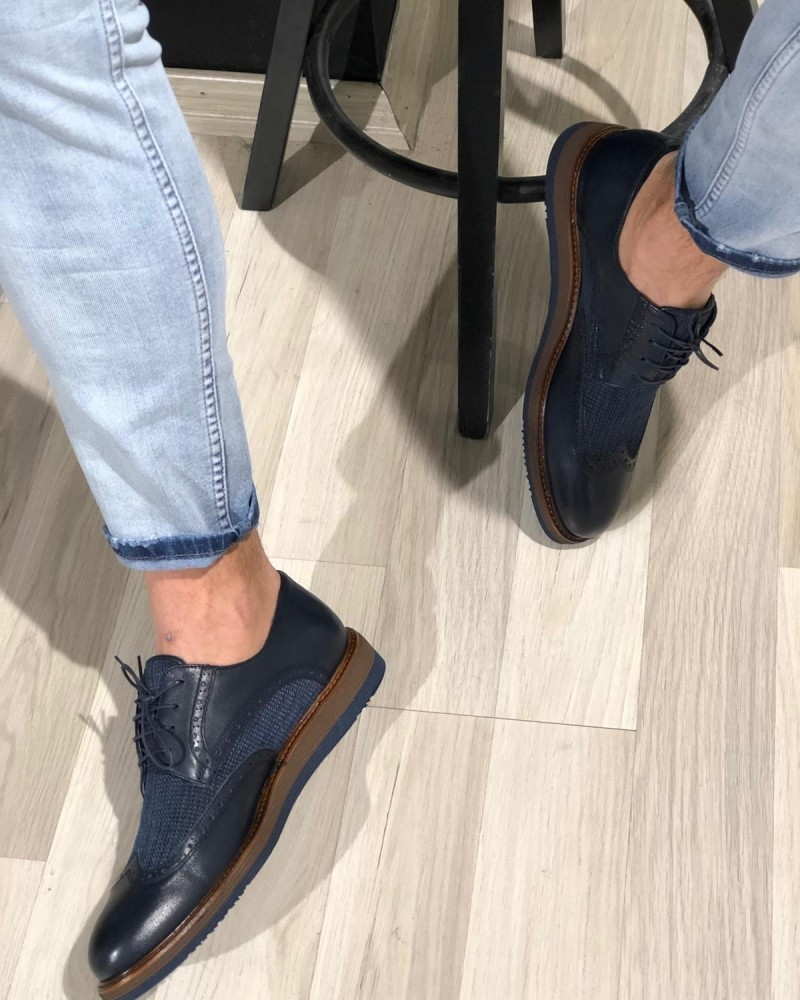 Navy Blue Casual Lace Up Shoes by Gentwith.com with Free Shipping