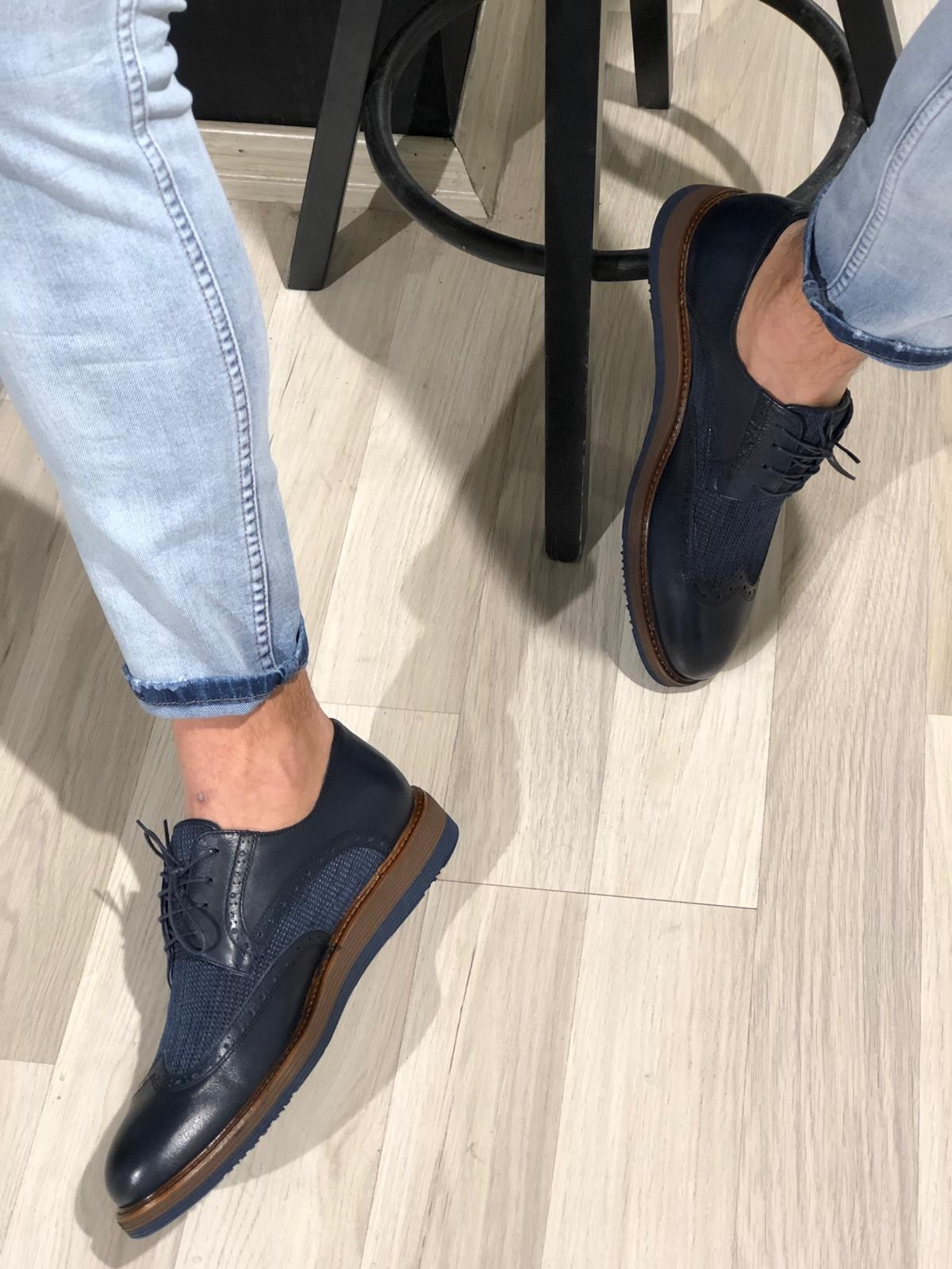 8f00a27594e1f Buy Navy Blue Casual Lace Up Shoes by Gentwith.com with Free Shipping