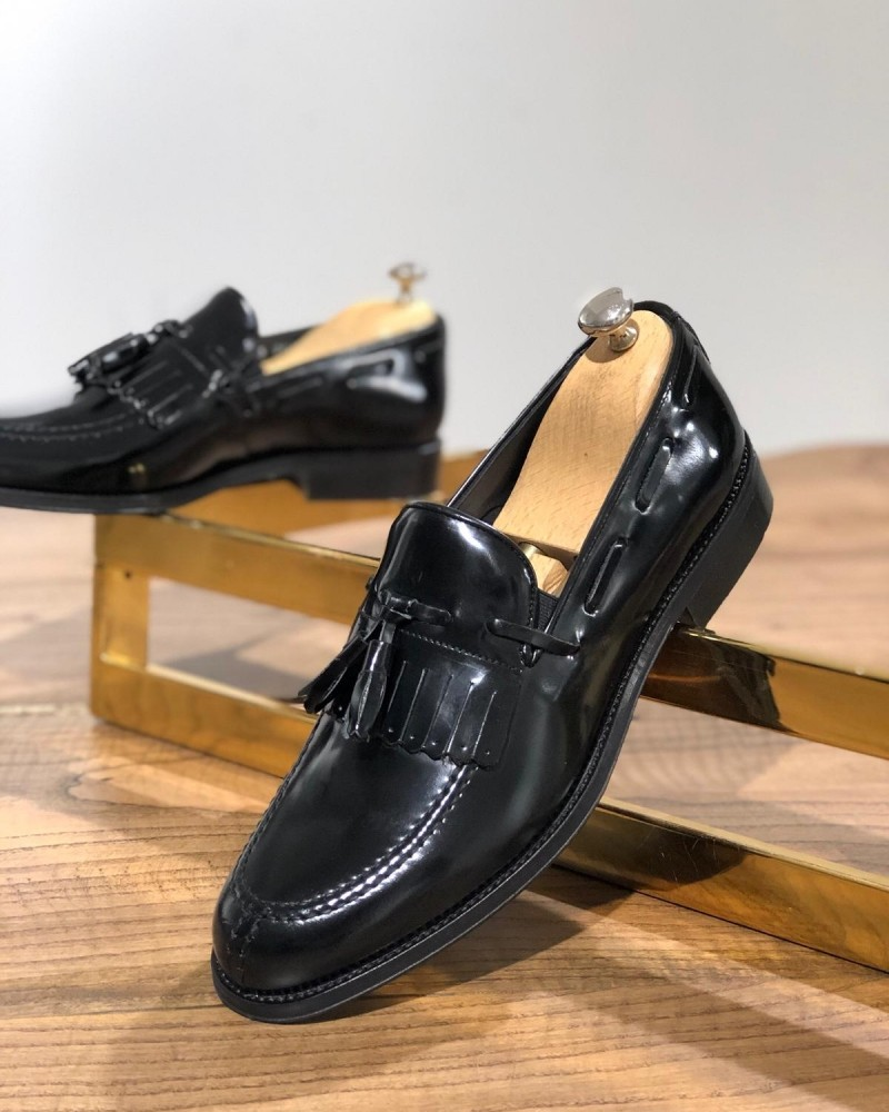 Black Tassel Loafer Leather by GentWith.com with Free Shipping