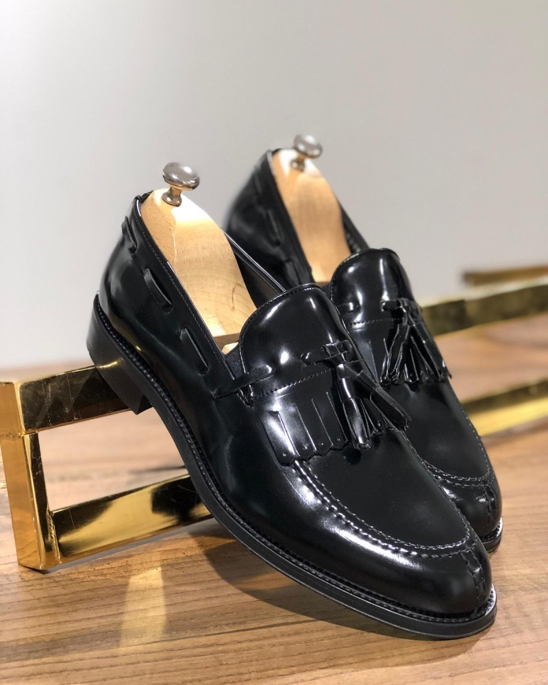 Black Tassel Leather Loafer by GentWith.com with Free Shipping