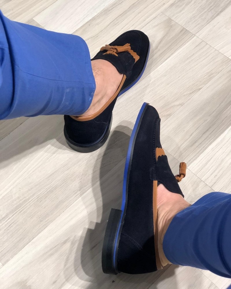 Navy Blue Kiltie Tassel Suede Loafer by Gentwith.com with Free Shipping