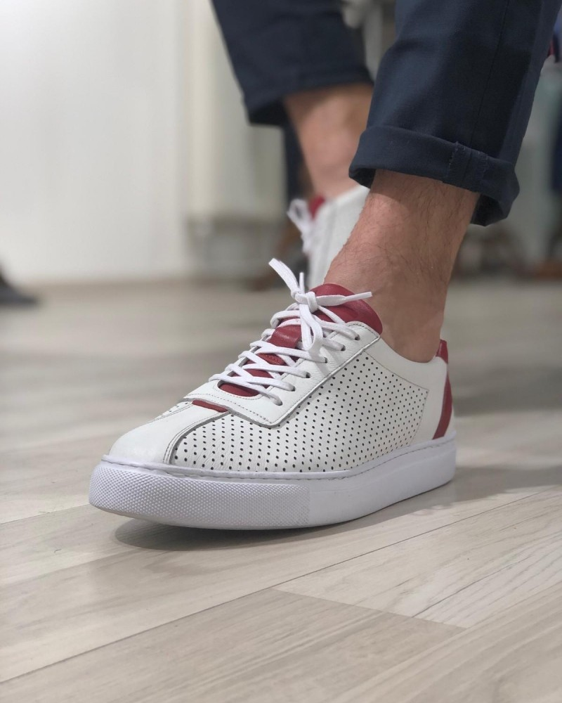 Claret Red Laced Sneakers by Gentwith.com with Free Shipping