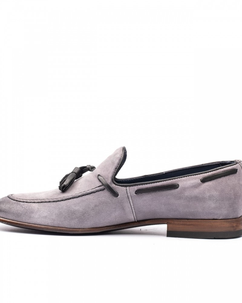 Gray Tassel Suede Loafer by GentWith.com with Free Shipping