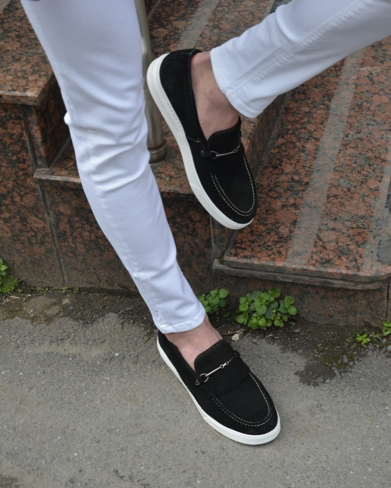 Black Kilt Espadrille Loafer by GentWith.com with Free Shipping
