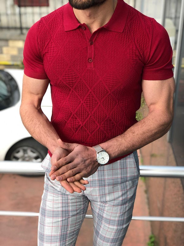 Burgundy Slim Fit Polo Shirt by GentWith.com with Free Shipping