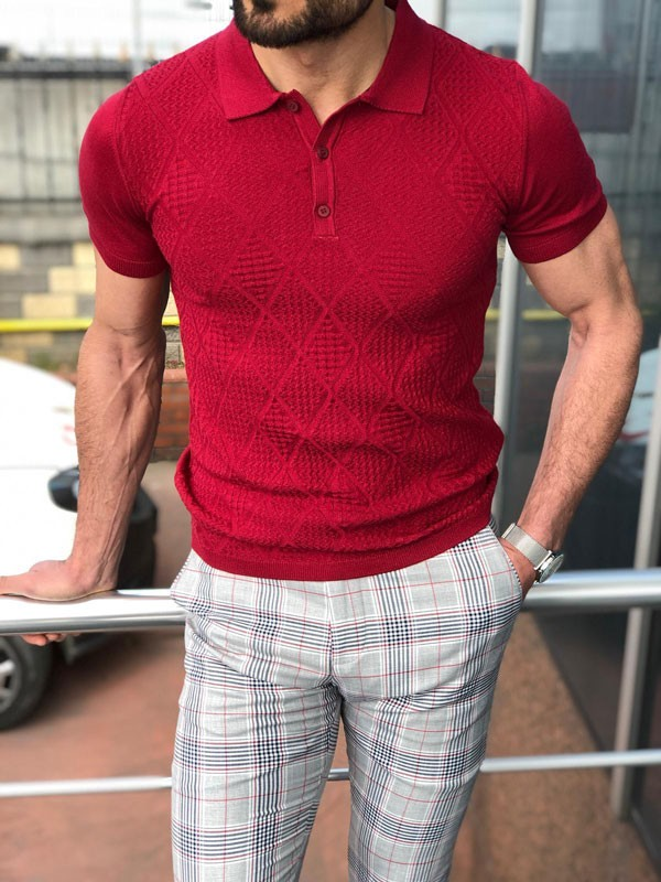 Slim Fit Burgundy Polo Shirt by GentWith.com with Free Shipping