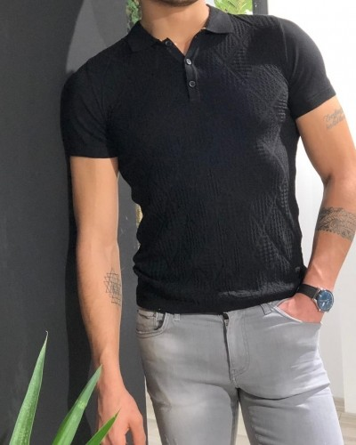 Black Slim Fit Collar Tshirt by Gentwith.com with Free Shipping