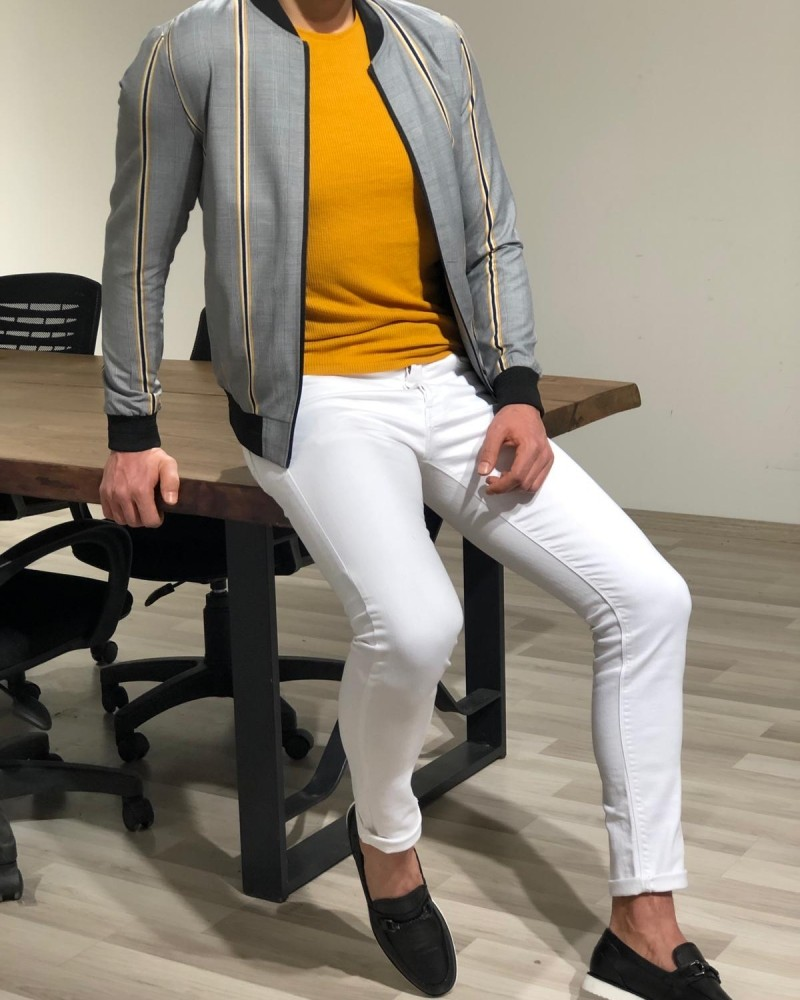 Yellow Slim Fit Coat by Gentwith.com with Free Shipping