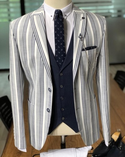 Gray Slim Fit Striped Blazer by GentWith.com with Free Shipping