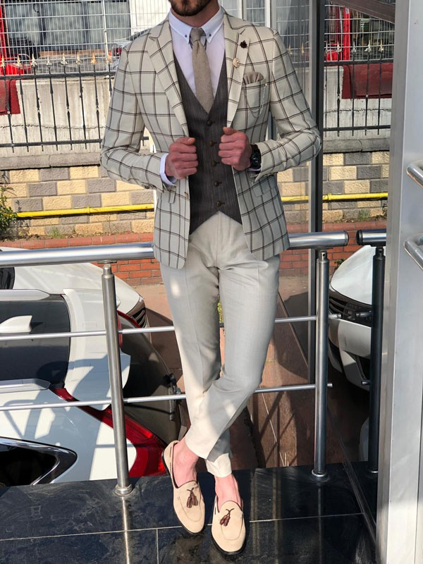 Beige Slim Fit Plaid Suit by GentWith.com with Free Shipping