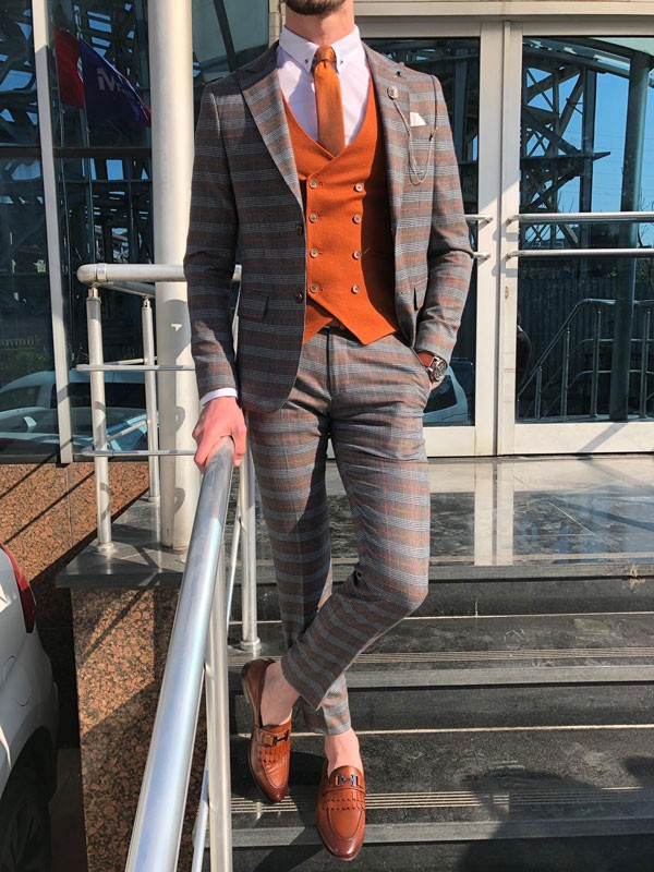 Orange Slim Fit Plaid Suit by GentWith.com with Free Shipping