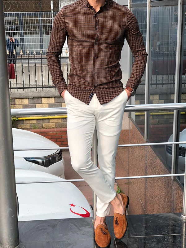 Camel Slim Fit Casual Shirt by GentWith.com with Free Shipping