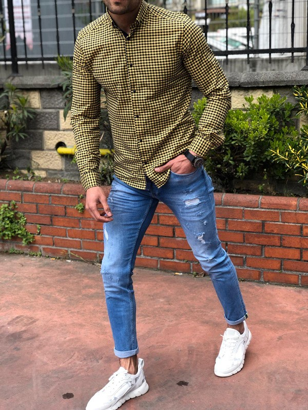 Yellow Slim Fit Casual Shirt by GentWith.com with Free Shipping