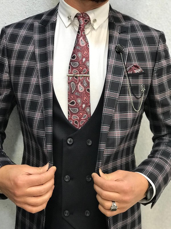Black Slim Fit Plaid Suit by GentWith.com with Free Shipping