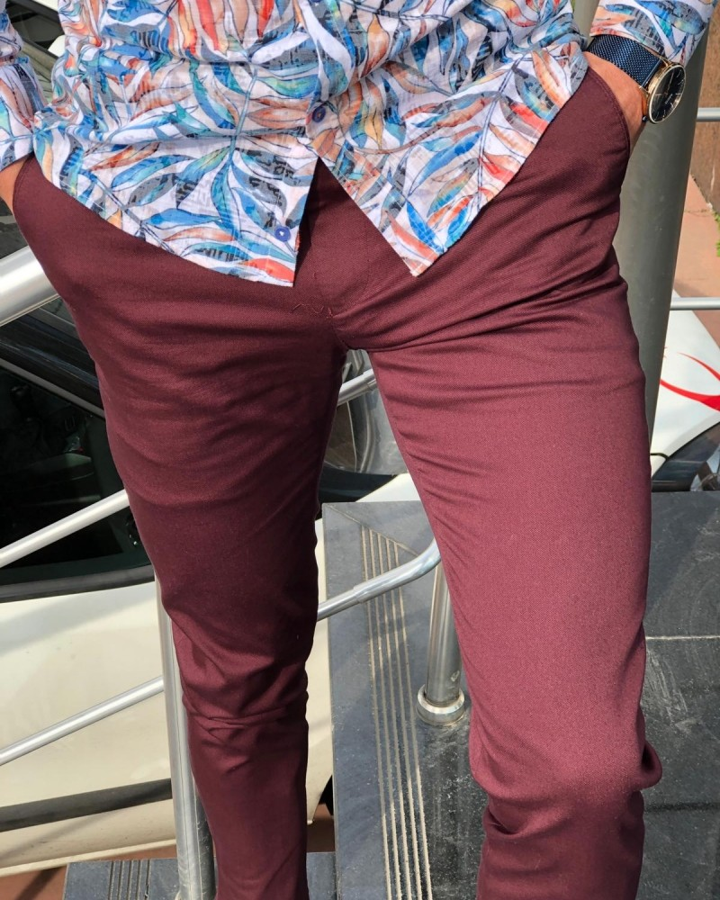 Claret Red Slim Fit Dress Pants by GentWith.com with Free Shipping