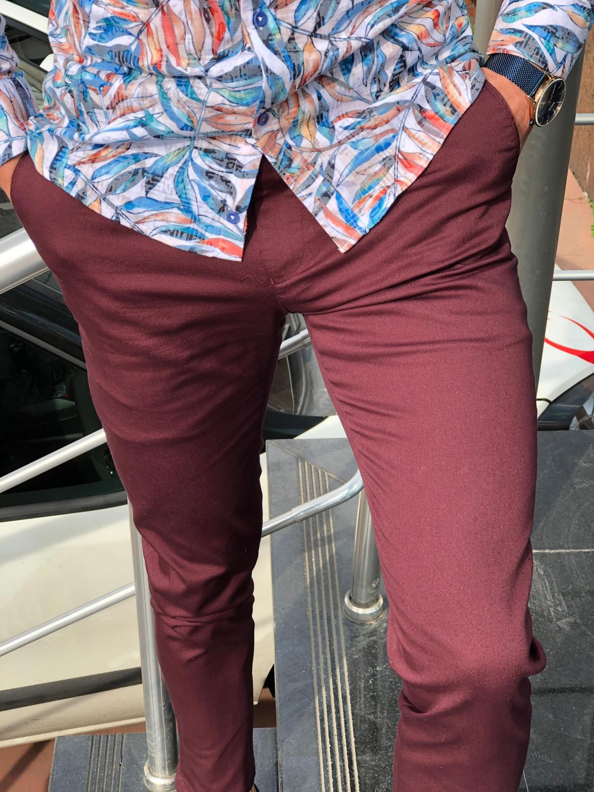 d96c73cb9b269 Buy Claret Red Slim Fit Dress Pants by GentWith.com with Free Shipping