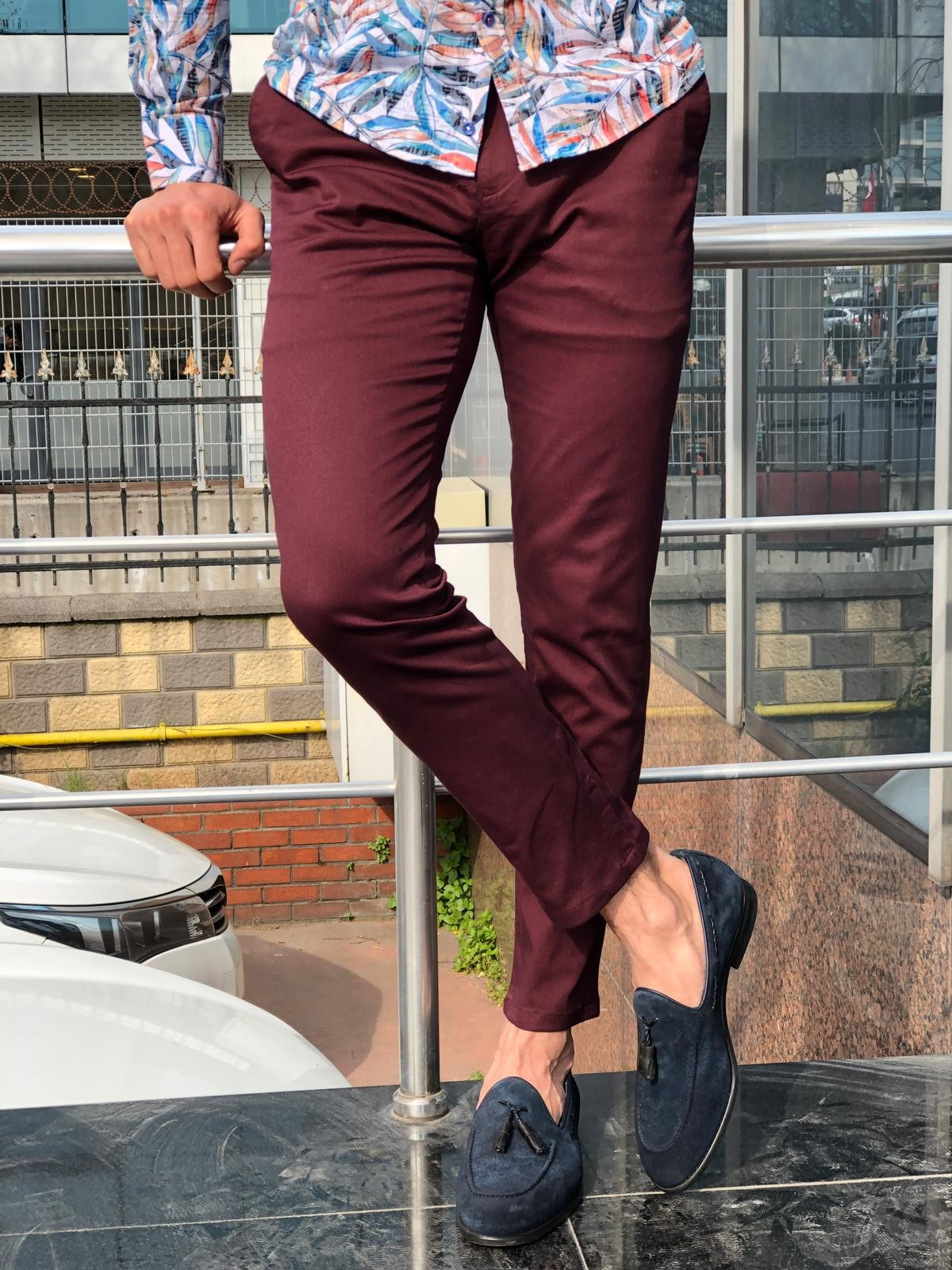 0b946185be02b Adena Claret Red Slim Fit Dress Pants