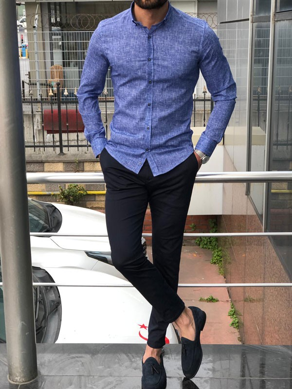 Sax Slim Fit Casual Shirt by GentWith.com with Free Shipping