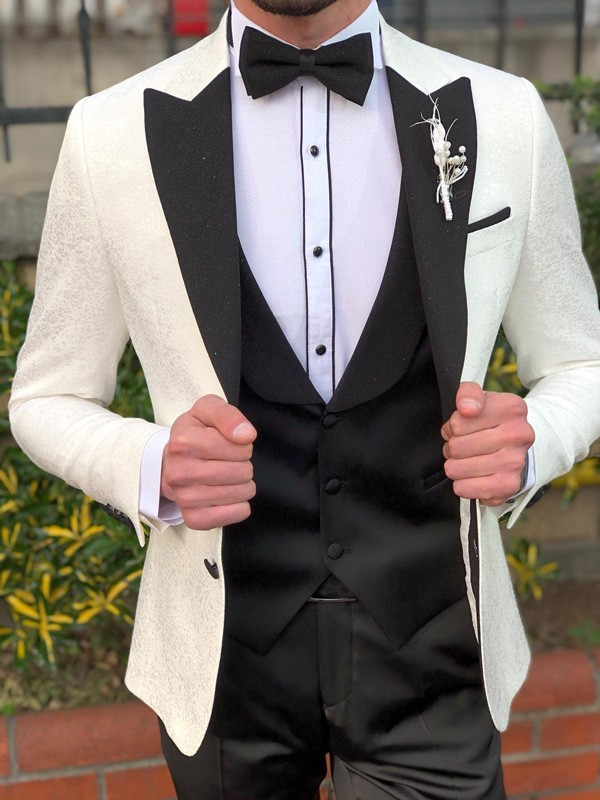 Ecru Peak Lapel Slim Fit Tuxedo by GentWith.com with Free Shipping
