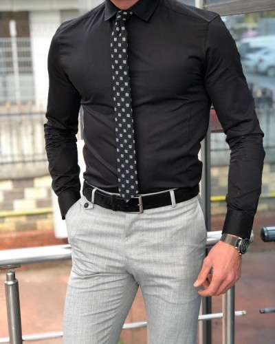 Black Slim Fit Dress Shirt by GentWith.com with Free Shipping