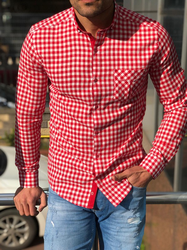 Red Slim Fit Casual Shirt by GentWith.com with Free Shipping