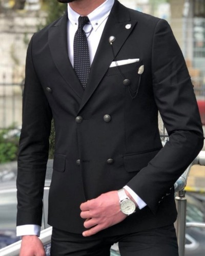 Black Double Breasted Suit by GentWith.com with Free Shipping