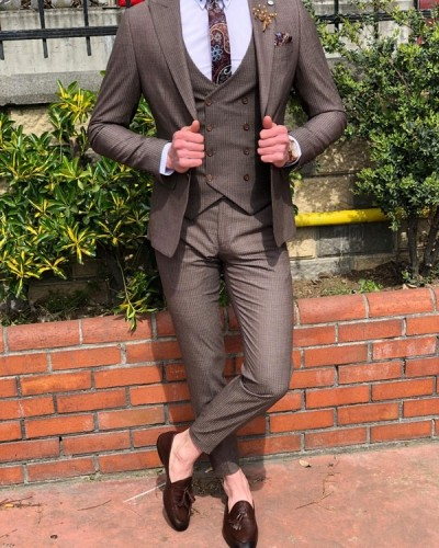 Brown Slim Fit Suit by GentWith.com with Free Shipping