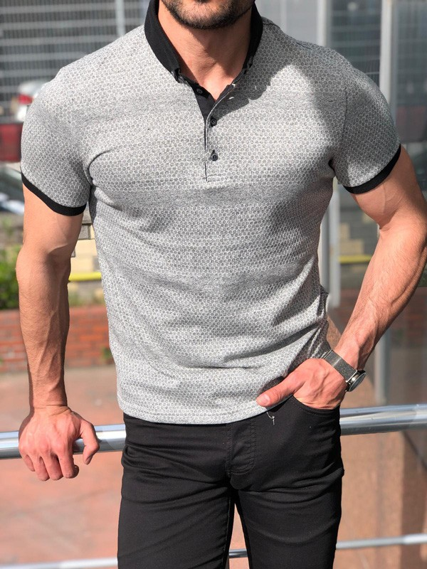 Gray Slim Fit Polo Shirt by GentWith.com with Free Shipping