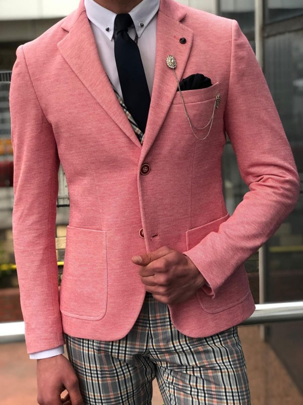 Pink Slim Fit Blazer by GentWith.com with Free Shipping