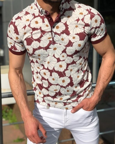 White Slim Fit Floral Polo Shirt by GentWith.com with Free Shipping