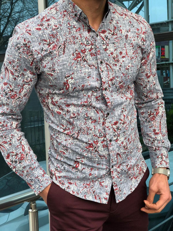 Gray Slim Fit Casual Shirt by GentWith.com with Free Shipping