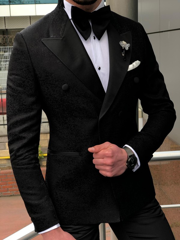 Black Double Breasted Tuxedo Blazer Jacket