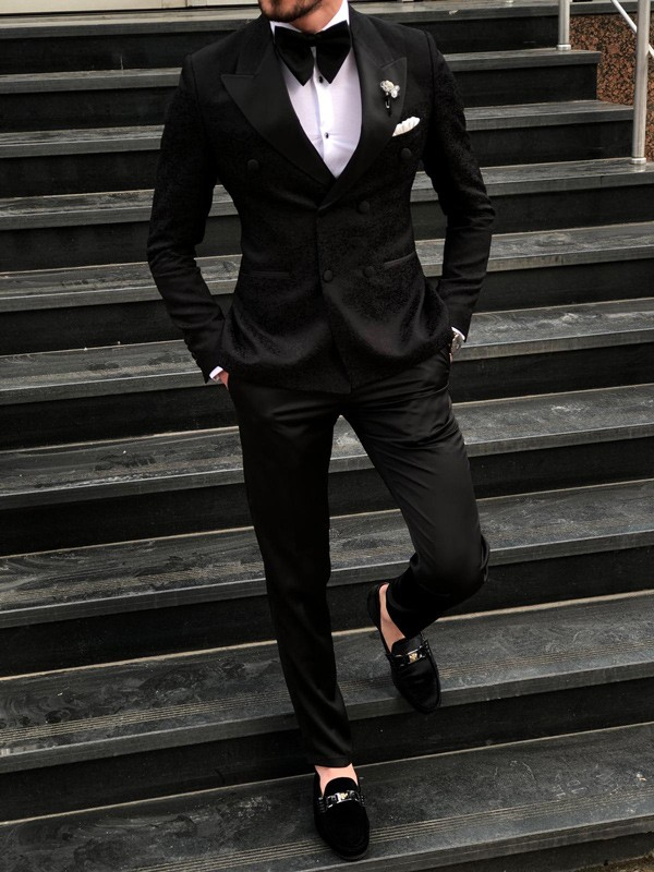 Black Double Breasted Tuxedo by GentWith.com | Free Shipping