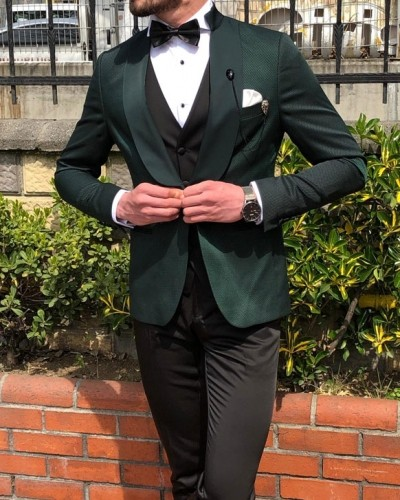 Green Slim Fit Tuxedo by GentWith.com with Free Shipping