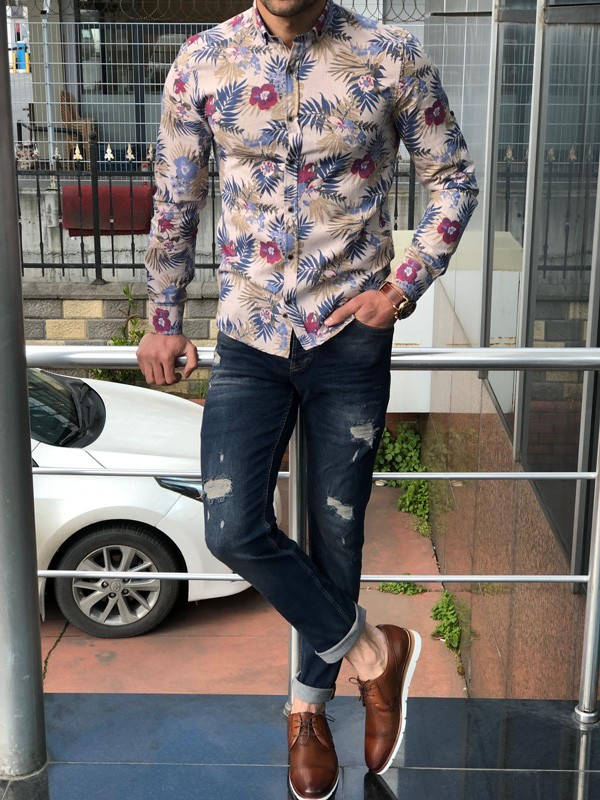 Beige Slim Fit Floral Casual Shirt by GentWith.com with Free Shipping