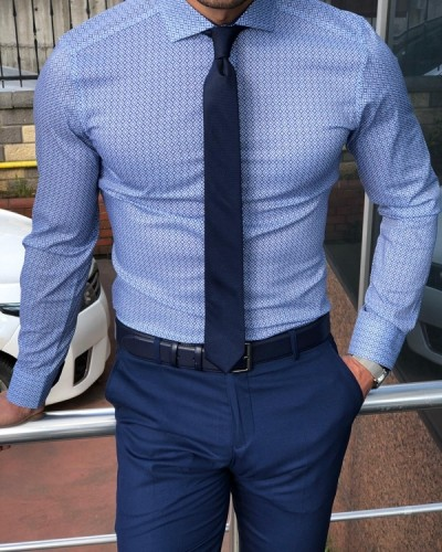 Blue Slim Fit Dress Shirt by GentWith.com with Free Shipping