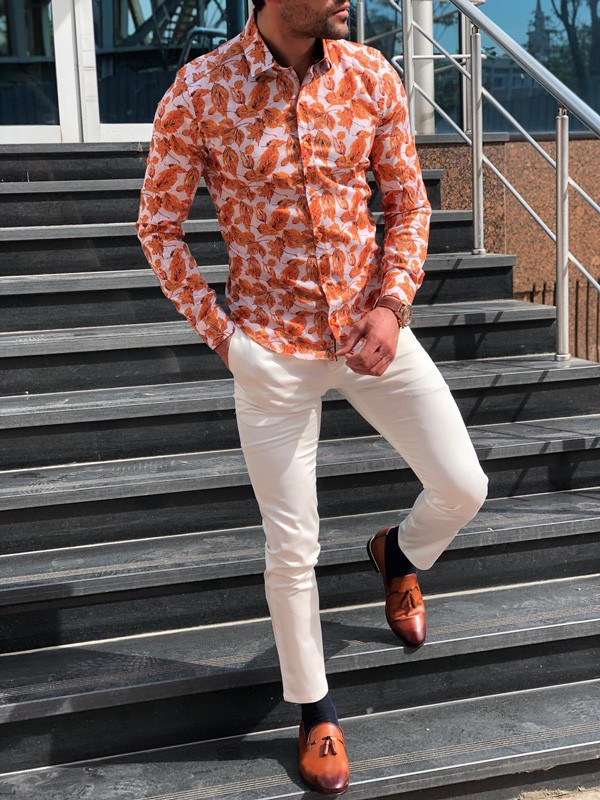 Orange Slim Fit Tropical Print Casual Shirt by GentWith.com