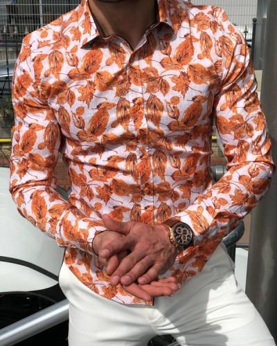 Orange Slim Fit Tropical Print Casual Shirt by GentWith.com