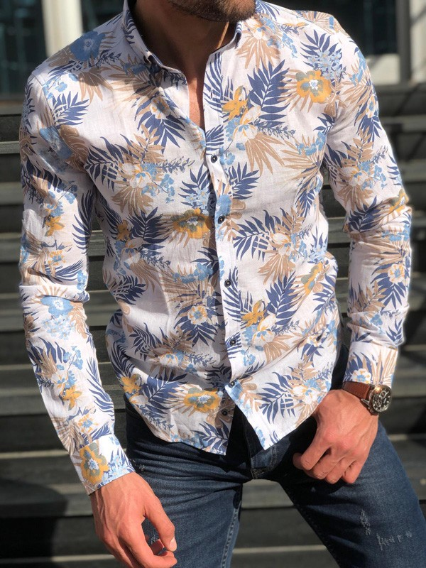White Slim Fit Tropical Print Casual Shirt by GentWith.com