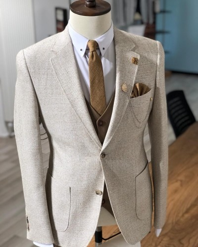 Beige Slim Fit Blazer by GentWith.com with Free Shipping